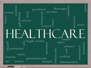 Healthcare word cloud on blackboard