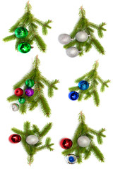 Firry twig and toys (color spheres).