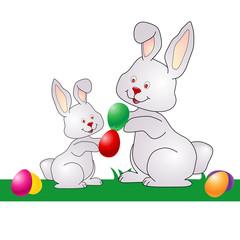 Two Easter Bunnies breaking eggs