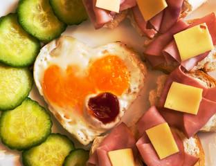 Fried egg on heart