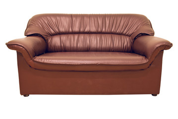 A modern brown leather sofa isolated on the white