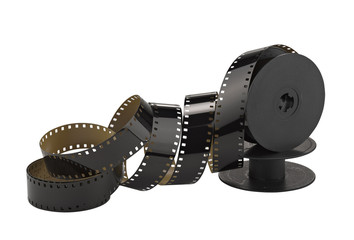 old 8mm cine film and reel; isolated on white