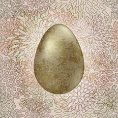 vector golden easter egg on seamless floral spring retro backgro