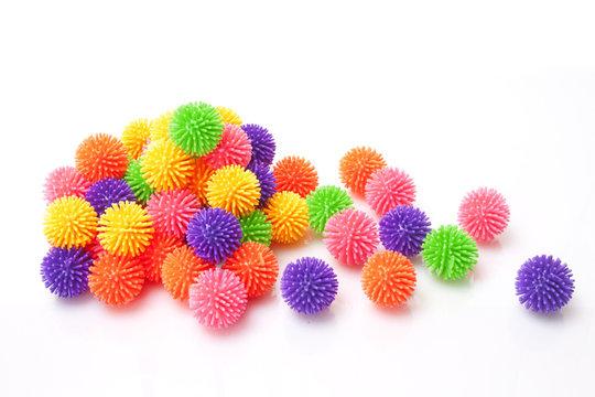 many massage rubber ball on white background