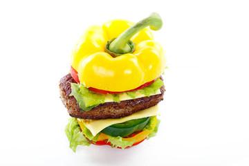 Gemüse Burger mit Hackfleisch, Top Ansicht