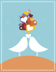 Valentine's Card. Birds in Love.