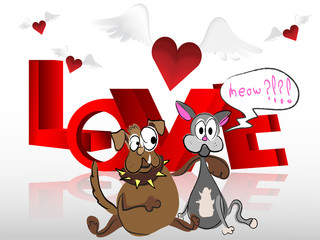 Heart with wings cat and dog