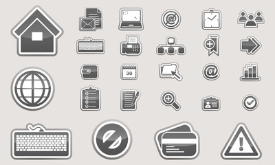 Set of glossy business icons black and white.