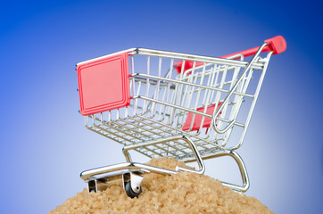 Shopping cart against gradient background
