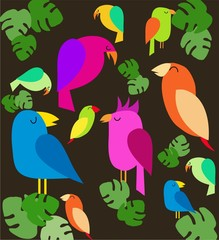 colorfull parrots on trees, vector illustration