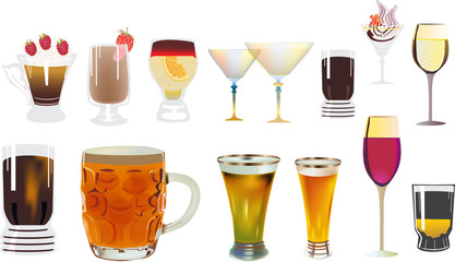 different drinks collection on white