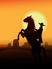 Aluminium Prints Wild West Hero of wildwest go in sunset