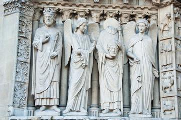 Sculptures on fasade of The Notre Dame de Paris. France.
