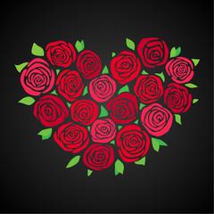 Rosen, Herzform, rot, dunkler HG