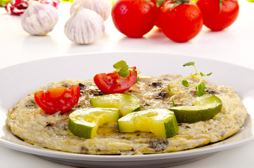 omelette with courgette and tomato