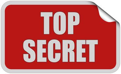 Sticker rot eckig curl oben TOP SECRET