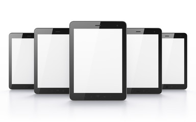 Black tablets on white background