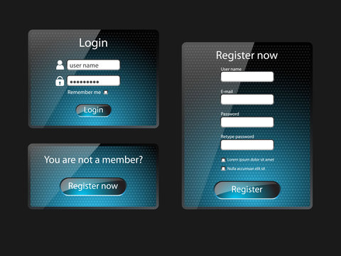 Login and register web screens-vector