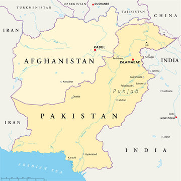 Afghanistan and Pakistan political map with capitals Kabul and Islamabad, with national borders, most important cities, rivers and lakes. Illustration with English labeling and scaling. Vector.