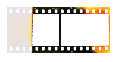 35 mm filmstrip, picture frames, free copy space isolated on whi