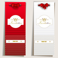Card notes with ribbons. Red and white invitations