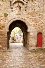 Fototapeta Old gates Porte du Jerzual in Dinan city wall, Brittany