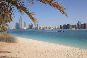 Canvas Prints Abu Dhabi Beach and skyline of Abu Dhabi, United Arab Emirates