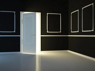 Empty, dark, black, classic room with opened door.