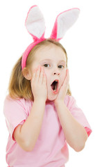 The little girl with pink ears bunny on white background.