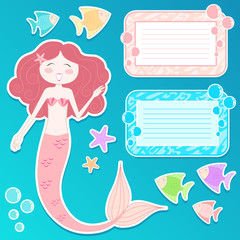 set of mermaid and matching design elements