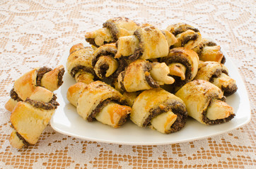 Homemade poppy seed filled Rugelach - Jewish pastry