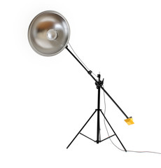 Studio flash with beauty dish on white background