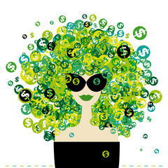 Poster Visage de femme Woman portrait with dollar signs hairstyle for your design