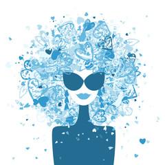 Poster Visage de femme Fashion woman portrait, winter style for your design