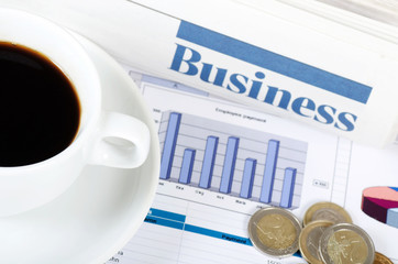 Coffee and the fresh newspaper - morning of the businessman