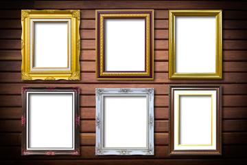 golden wood frame on wood background
