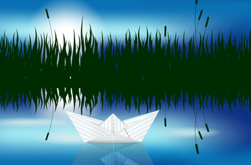 Origami paper boat on water level - vector file
