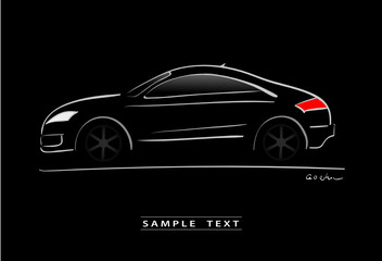 silhouette of black sport car sketch