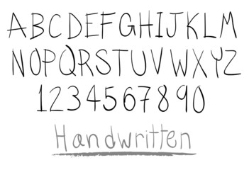 hand written alphabet in capital