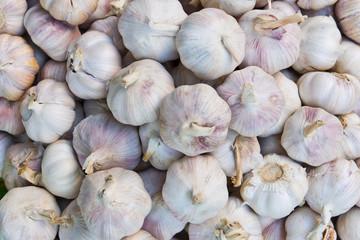 pile of garlic in market