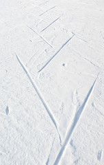 Wall Mural - Trace of skier running free technique (skate skiing)