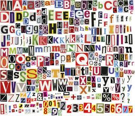 Newspaper clippings alphabet