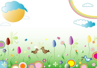Easter spring background, space for text, vector