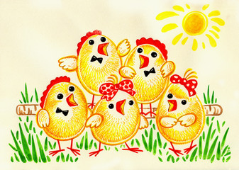 hand painted illustration: Easter Choir