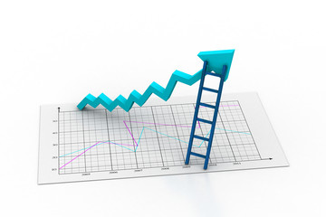 business graph with ladder