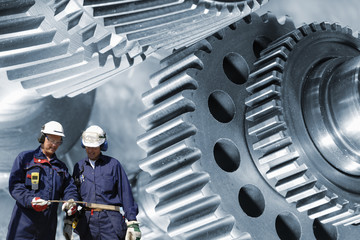 Wall Mural - steel workers and gears machinery