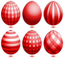 Set 6 Easter Eggs Red
