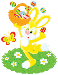 Easter Bunny dances with basket of colored eggs