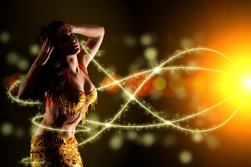 oriental Bellydancer and light streaks