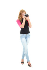 Blonde woman with retro camera